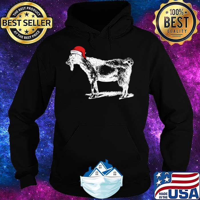 Goat in Santa Hat Christmas Pajama Shirt Hoodie