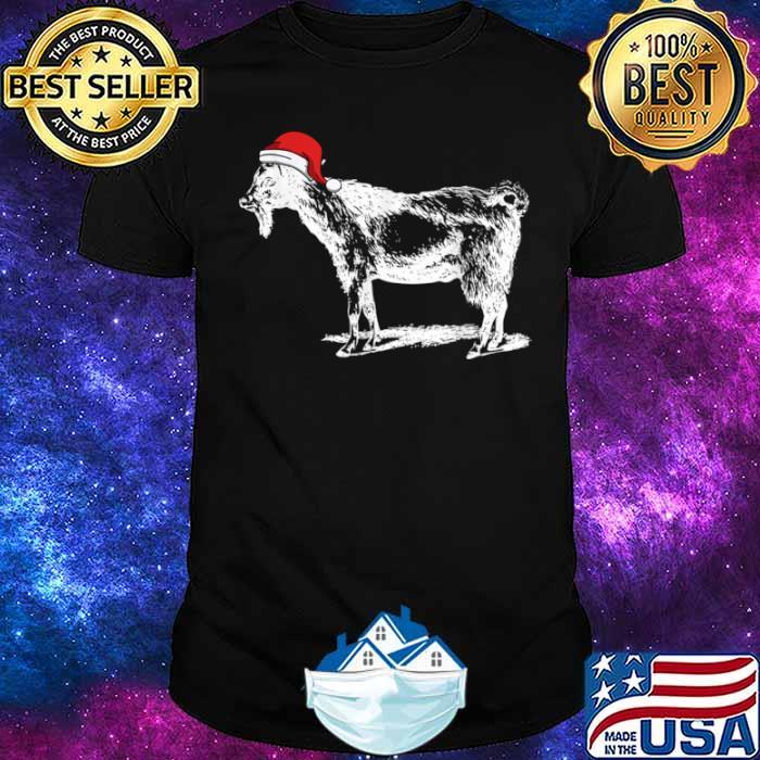 Goat in Santa Hat Christmas Pajama Shirt